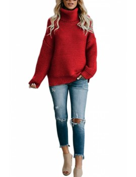 Drop Shoulder High Neck Pullover Sweater Red
