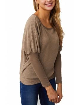 Batwing Sleeve Sweater Plain Khaki