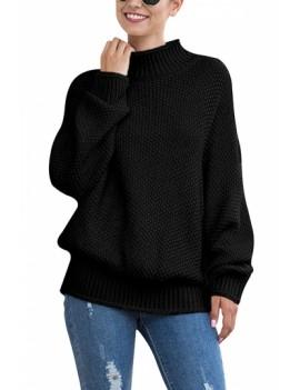 Dolman Sleeve Mock Neck Sweater Black