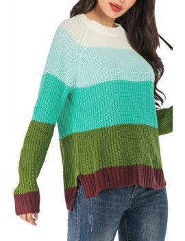 Crew Neck Color Block Pullover Sweater Green
