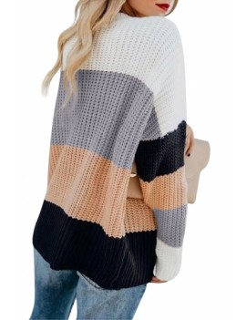 Casual Color Block Oversized Sweater Apricot