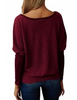 Bateau Neck Sweater Long Sleeve Ruby