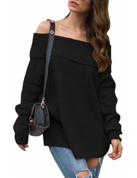 Waffle Knit Off Shoulder Pullover Sweater Black