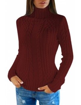 Cable Knit Turtleneck Pullover Sweater Ruby
