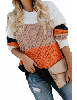 Contrast Color Block Pullover Sweater Tangerine