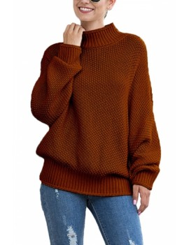 Drop Shoulder Mock Neck Oversized Sweater Coffee