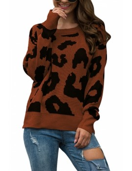 Drop Shoulder Leopard Pullover Sweater Brown