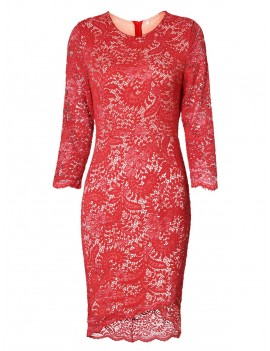 Asymmetric Lace Dress with Sleeves - Red 2xl