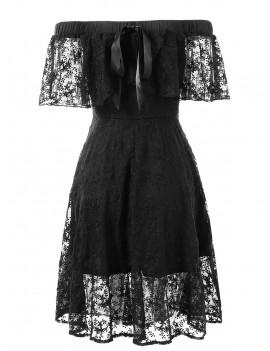 Elastic Shoulder Flare Lace Dress - Black M