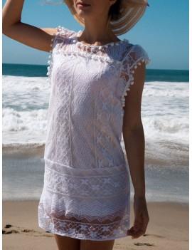 Scoop Collar Sleeveless See-Through Crochet Tunic - White S