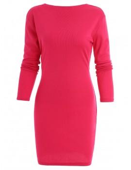 Back Tie Cut Out Mini Dress - Rose Red M