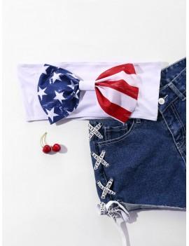 American Flag Bowknot Crop Top -  L