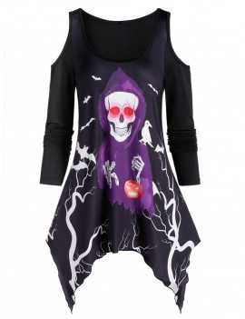 Asymmetrical Open Shoulder Skull Print T Shirt - Black M
