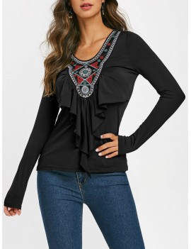 Embroidered Patched Ruffles Long Sleeves Tee - Black M