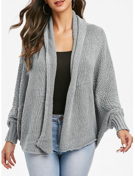 Batwing Sleeve Open Knit Open Front Cardigan - Gray One Size