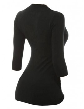 Mock Button Contrast Three Quarter Sleeves Knitwear - Black M