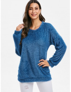 Fuzzy Knit Drop Shoulder Tunic Sweater - Blue 2xl