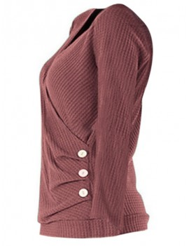 Mock Button Ruched Surplice Knitwear - Lipstick Pink S