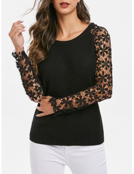 Lace Sleeves Solid Pullover Knitwear - Black One Size