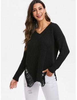 V Neck Side Slit Distressed Sweater - Black One Size