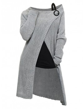 Longline Skew Neck Wrap Sweater with Tank Top - Gray M