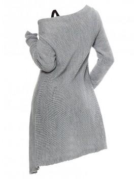 Longline Skew Neck Wrap Sweater with Tank Top - Gray M