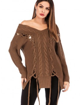 Lace Up Cable Knit Off Shoulder Sweater - Light Brown L
