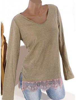 V Neck Lace Hem Ribbed Tunic Knitwear - Light Khaki Xl