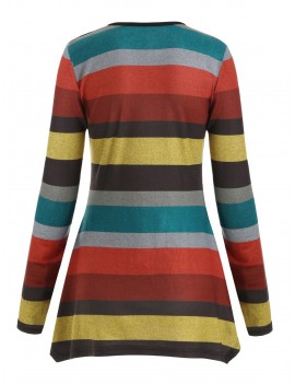 Button Embellished Colorful Striped Pattern Handkerchief Knitwear -  M