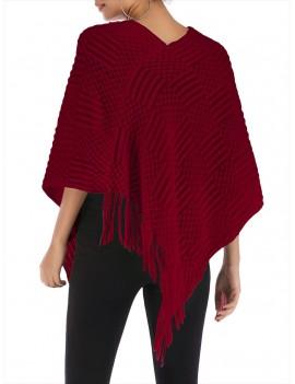 Pom Pom Fringed Batwing Sleeve Sweater - Red Wine One Size