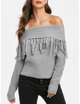 Tassel Off Shoulder Foldover Pullover Sweater - Gray M