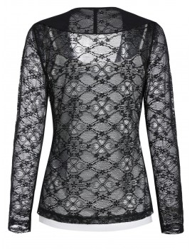 Lace Sheer Draped Cardigan and Cami Top Set - Black M