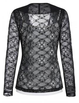 Lace Sheer Draped Cardigan and Cami Top Set - Black M