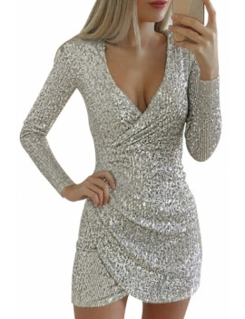 Glitter Plunging Neck Club Dress White