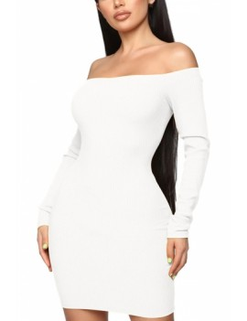 Long Sleeve Mini Dress Off Shoulder White