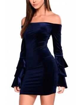 Flare Sleeve Off The Shoulder Dress Navy Blue