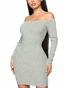 Long Sleeve Bodycon Dress Off Shoulder Gray