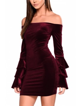 Off Shoulder Bodycon Dress Ruby