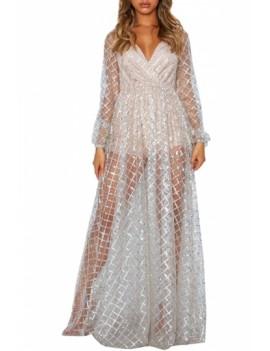 Glittery Plaid See Through Gown White