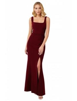 Elegant Bridesmaid Gown Square Neck Ruby