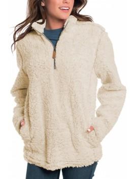 1/4 Zip Fuzzy Pullover Sweatshirt Beige