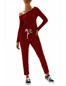 Casual Jumpsuit Long Sleeve With Pocket Ruby