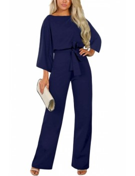 Wide Leg Jumpsuit With Belted Navy Blue