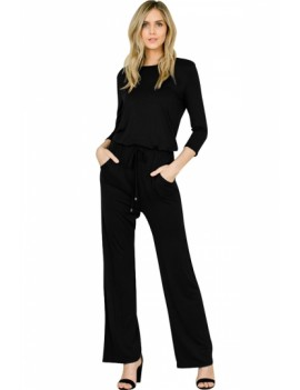3/4 Sleeve Jumpsuit With Pocket Black